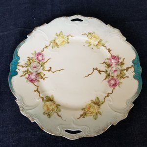 Antique Bone China Ornate Salad Plate - Teal, Gold
